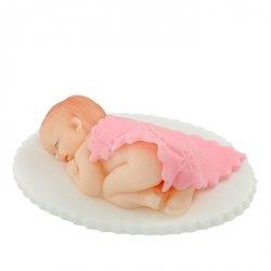 Bobas pod kołderką na tort chrzest baby shower różowy