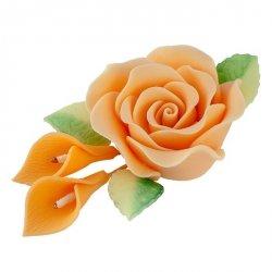 Zestaw cukrowe kwiaty RÓŻA MAX + KALIE z listkami HERBACIANE