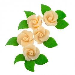 Zestaw cukrowe kwiaty 5x RÓŻA MAŁA z listkami ECRU