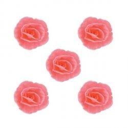 Róża chińska waflowa na tort mała (4,5cm) różowa 5szt