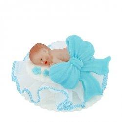 Figurka na tort BOBAS Z KOKARDĄ chrzest baby shower niebieski