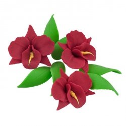 Zestaw cukrowe kwiaty na tort STORCZYK z listkami BORDOWY