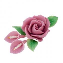 Zestaw cukrowe kwiaty RÓŻA MAX + KALIE z listkami WRZOSOWE