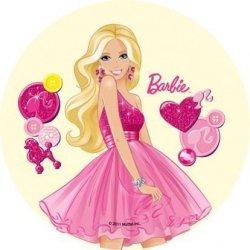 Opłatek na tort okrągły Barbie Serduszka