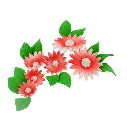 Zestaw cukrowe kwiaty na tort RUMIANEK z listkami CZERWONY