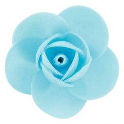 Róża opłatkowa 5,5 cm niebieska 3 szt.