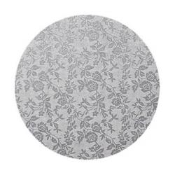 Podkład pod tort okrągły gruby (12mm) SREBRNY 30cm - Modecor
