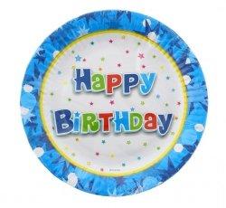 Talerzyki papierowe Happy Birthday niebieskie 18 cm 6 szt.