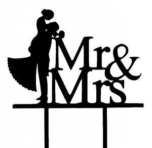 Dekoracja na tort ślubny topper Mr&Mrs czarny