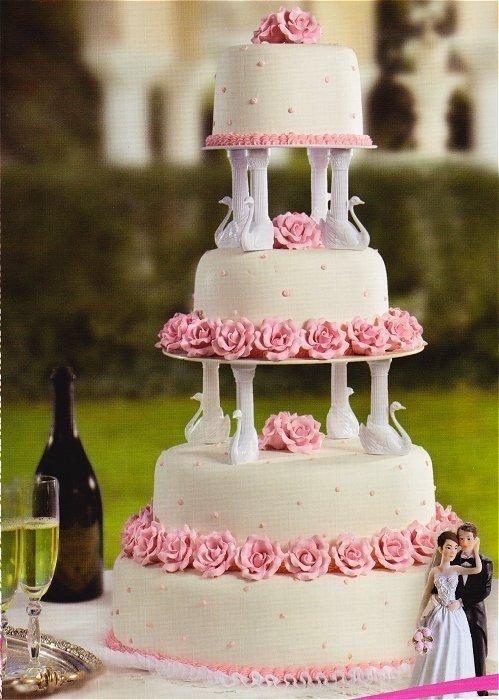 Kardasis - stojak na torty weselne okrągłe z Łabędziami 4 piętra