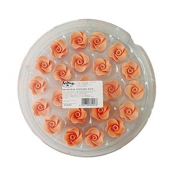 Róże cukrowe MAŁE 22szt łososiowe