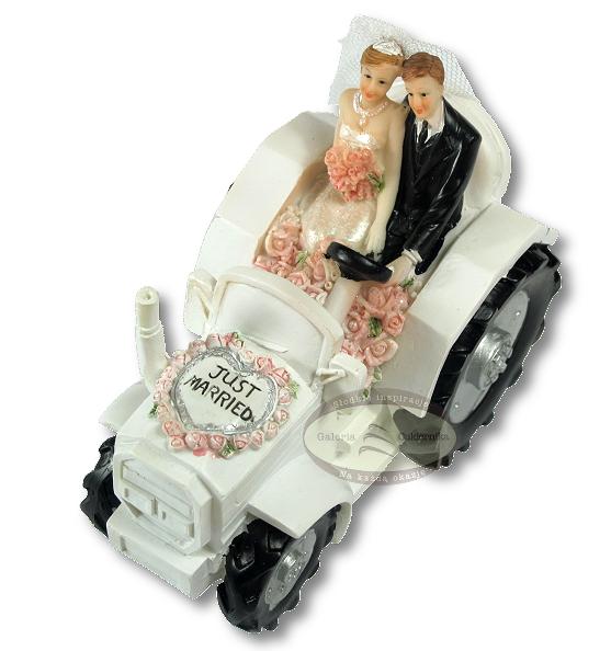 Figurka na tort ślub PARA MŁODA na traktorze