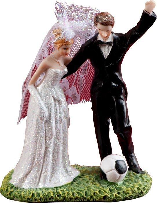 Figurka na tort ślub PARA MŁODA piłka nożna