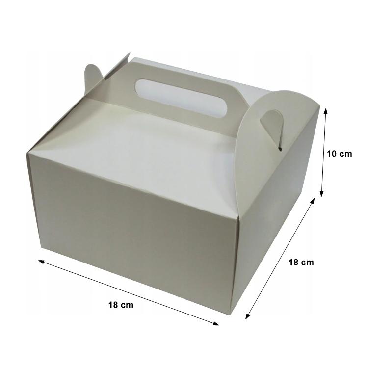 Pudełka kartonowe na tort ciasto z rączką 18x18X10cm - 10szt