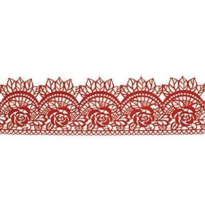 Cukrowa jadalna KORONKA do dekoracji tortu 120cm CZERWONA 06