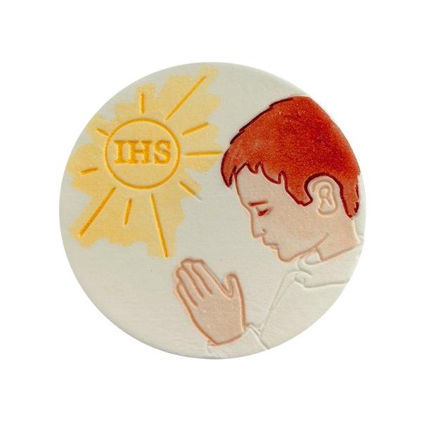 Dekoracja cukrowa na tort HOSTIA Z CHŁOPCEM ręcznie malowana