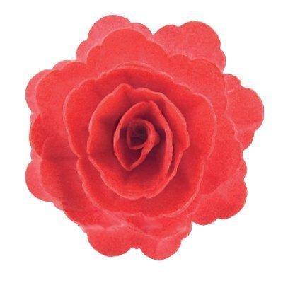 Róża chińska waflowa na tort duża (7cm) czerwona 15szt