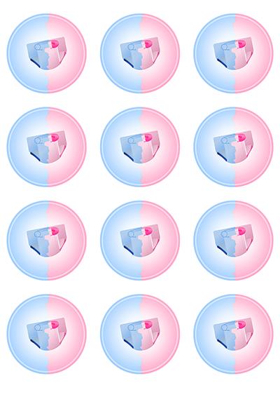 Opłatki waflowe na muffinki Baby Shower 6cm 12szt v3