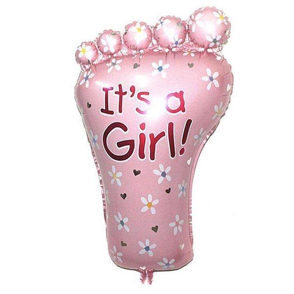 """Balon foliowy - stópka IT'S A GIRL! - różowa 14"""""""