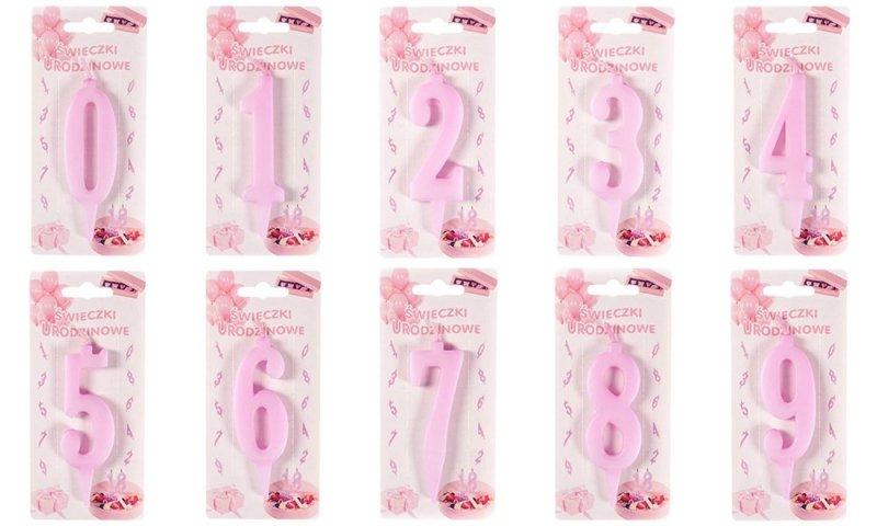 Różowa świeczka urodzinowa na tort cyfra 8