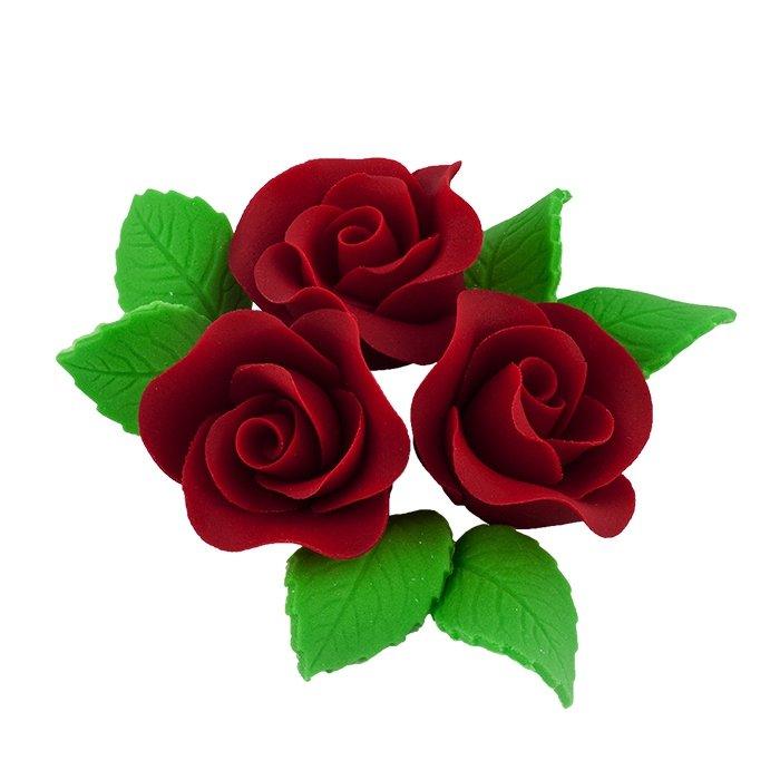 Zestaw cukrowe kwiaty na tort 3 ŚREDNIE RÓŻE z listkami BORDOWY