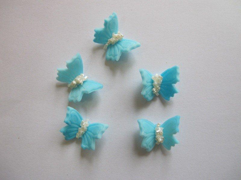 Motylki cukrowe na tort małe niebieskie 3D 5szt