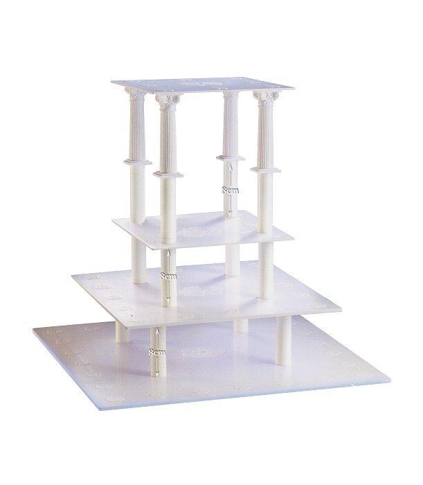 Kardasis - stojak kwadratowy na torty weselne 4 piętra 8 Kolumn