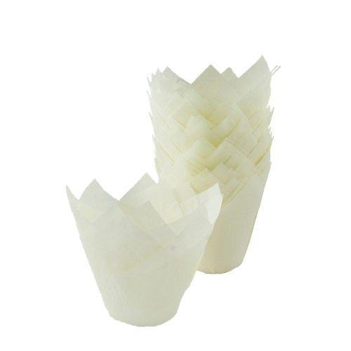 Papilotki na muffinki TULIPAN białe 50 szt