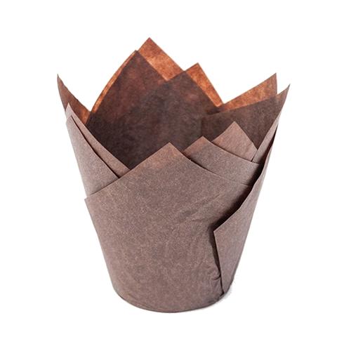 Papilotki na muffinki TULIPAN (160/50) brązowy 50 szt