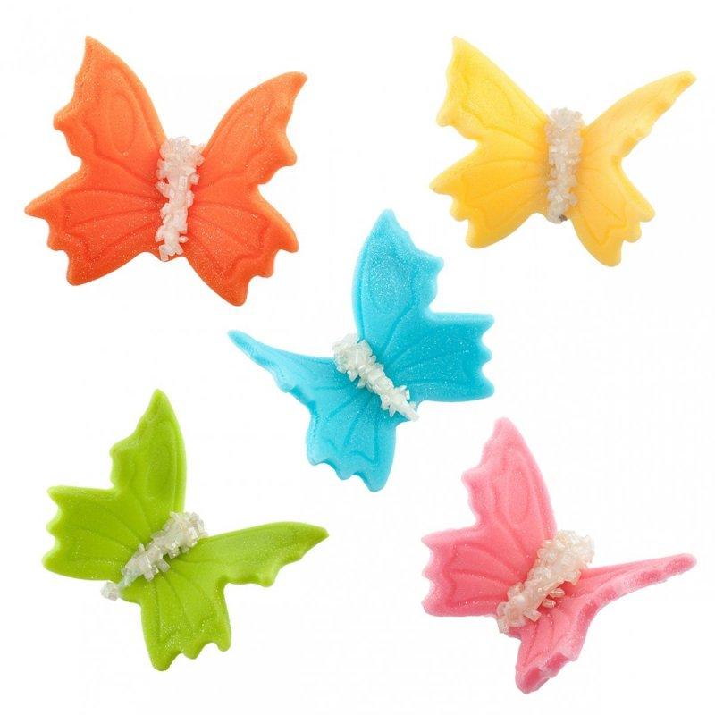 Motylki cukrowe na tort duże kolorowe 3D 5szt
