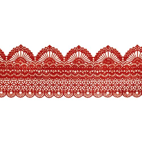 Cukrowa jadalna KORONKA do dekoracji tortu 120cm CZERWONA 05