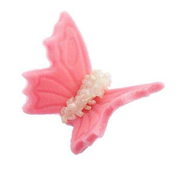 Motylki cukrowe na tort średnie różowe 3D 70szt