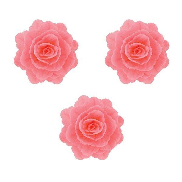 Róża chińska waflowa na tort duża (7cm) różowa 3szt