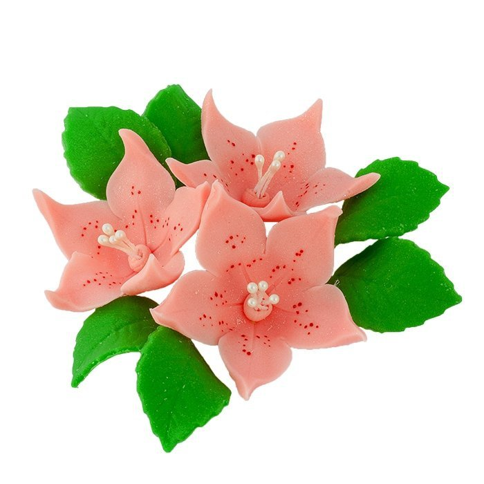 Zestaw cukrowe kwiaty na tort LILIJKA z listkami ŁOSOSIOWA