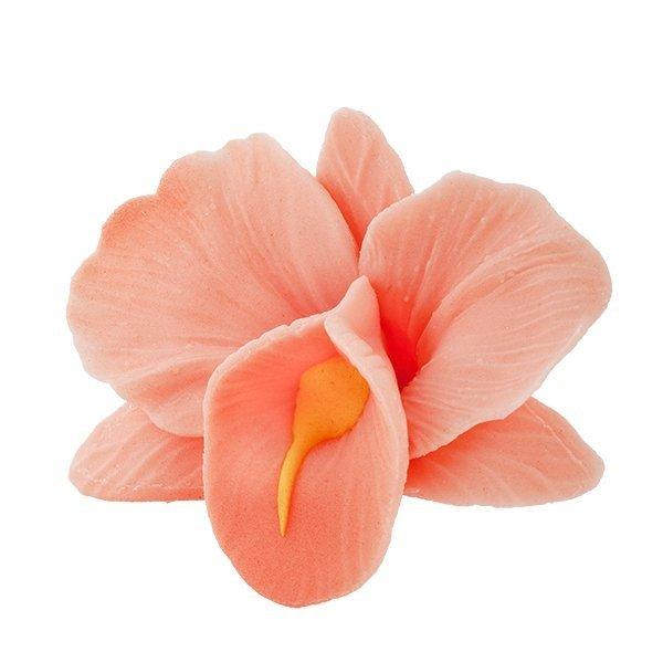 Storczyk kwiat cukrowy na tort 6cm łososiowy 1szt