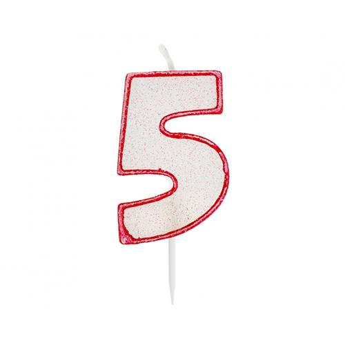 Świeczka urodzinowa na tort CYFRA 5 czerwony kontur z brokatem