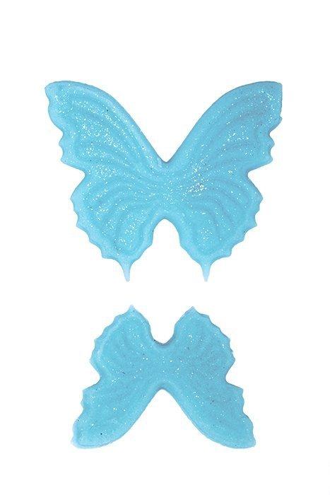 Motylki cukrowe na tort płaskie niebieskie 14szt