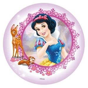 Modecor - opłatek na tort okrągły Królewna Śnieżka i Sarenka