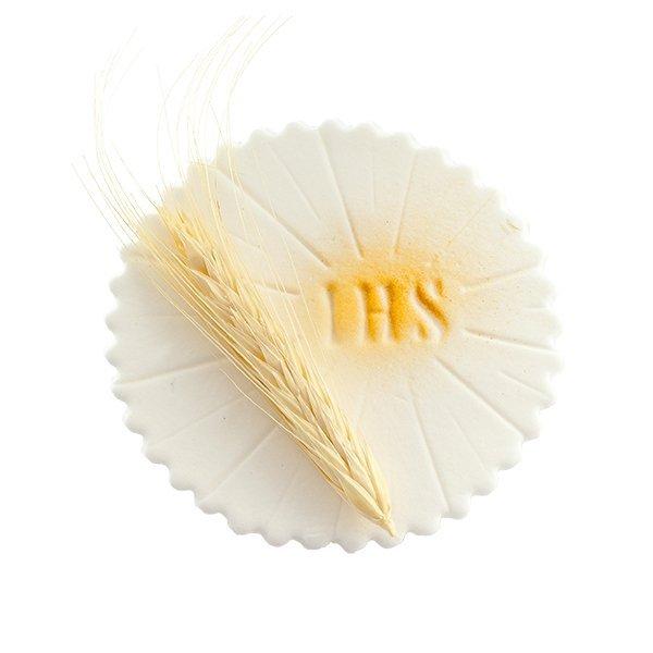 Dekoracja cukrowa na tort HOSTIA Z KŁOSEM - Komunia