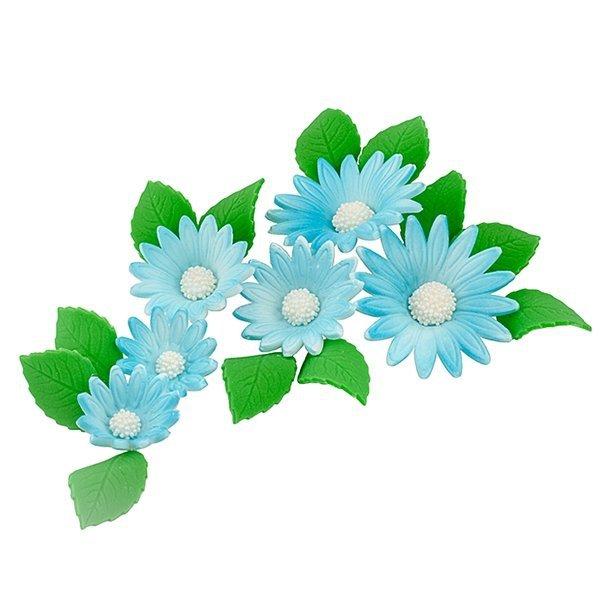 Zestaw cukrowe kwiaty na tort RUMIANEK z listkami NIEBIESKI