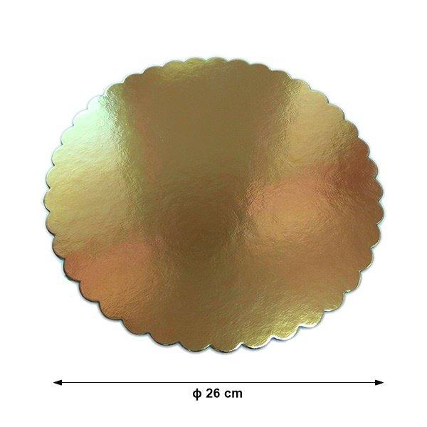 Podkład pod tort gruby złoty karbowany śr. 26cm