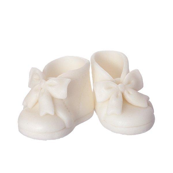 Buciki cukrowe z kokardką na tort CHRZEST białe
