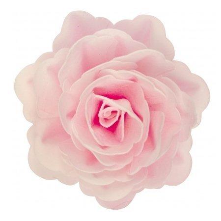 Róża waflowa na tort XL duża (12,5cm) różowa jasna 1szt