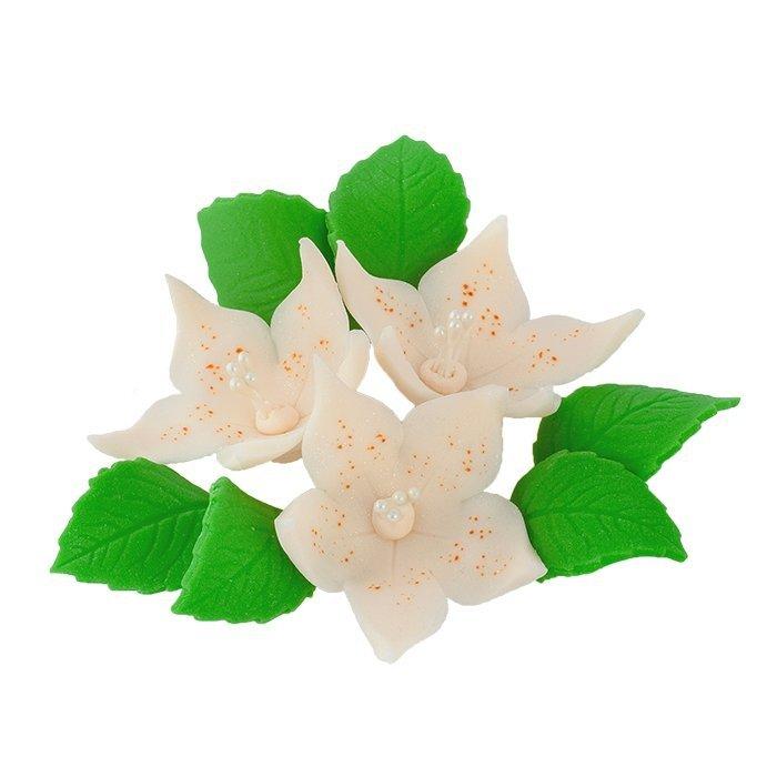 Zestaw cukrowe kwiaty na tort LILIJKA z listkami ECRU