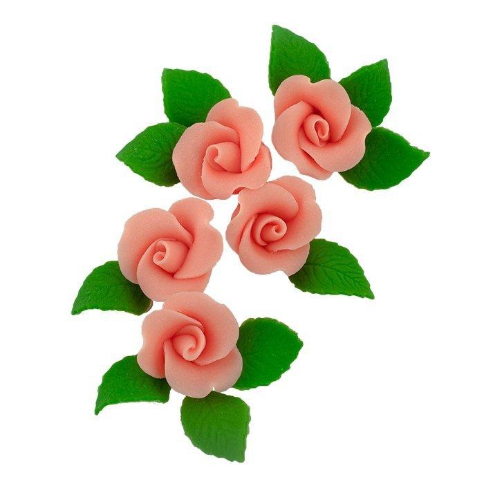 Zestaw cukrowe kwiaty 5x RÓŻA MAŁA z listkami ŁOSOSIOWA