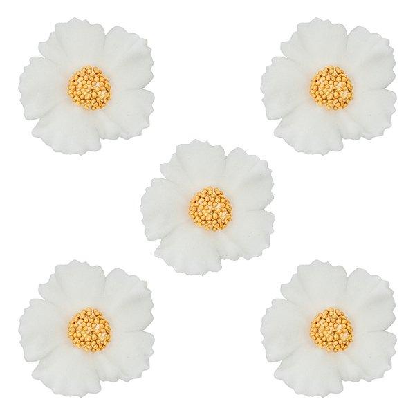 Duże kwiaty cukrowe na tort CHABER 5szt białe