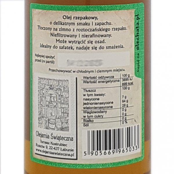 Olej rzepakowy 500 ml Na zdrowie! - tył etykieta.