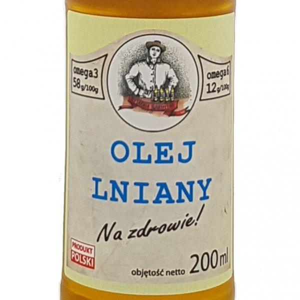 Olej lniany 200 ml Na zdrowie! - przód etykieta.