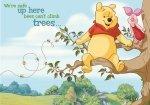 Fototapeta dla Dzieci - Kubuś Puchatek i Prosiaczek - Wspinaczka na Drzewo - 368x254cm