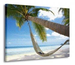 Obraz na ścianę - Palma na plaży - 120x90 cm